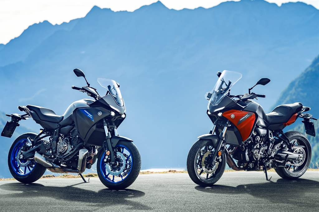 yamaha mt-07 red and blue with mountain view